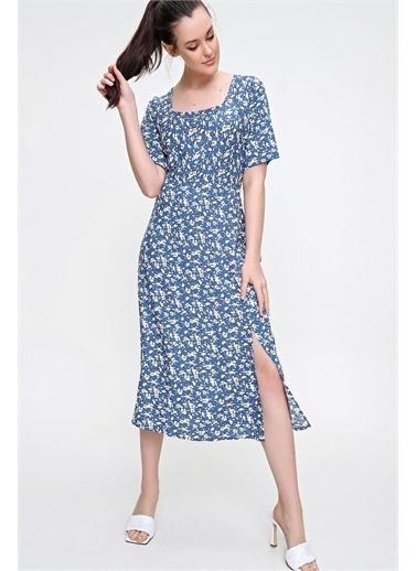 Pink Park Kare Yaka Yırtmaçlı Dokuma Elbise RD00022 Mavi